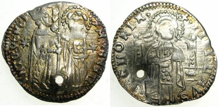 "Ancient Coins - ITALY.VENICE.Antonio Venier AD 1382-1400.AR.Grosso."""""" Pierced for suspension """""