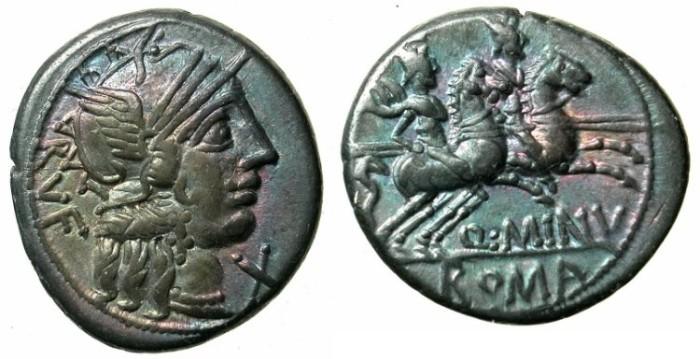 Ancient Coins - ROME.REPUBLIC.Q.Minucius Rufus 122 BC.AR.Denarius.The Dioscuri galloping right.