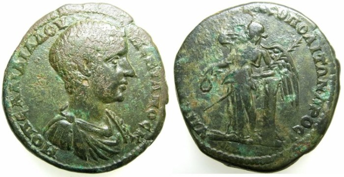 Ancient Coins - MOESIA INFERIOR.NIKOPOLIS AD ISTRUM.Diadumenian Casear AD 217-218.AE.27.~#~Nike standing,left arm resting on column.