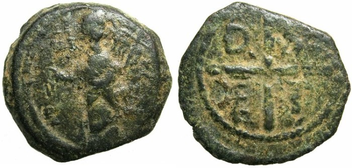Ancient Coins - CRUSADER.Principality of Antioch.Tancred AD 1104-1112.AE.Follis.3rd type.Standing figure of Saint Peter.******EX SLOCUM COLLECTION*******