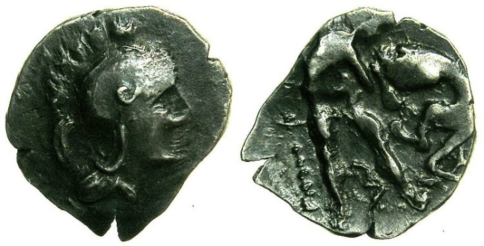 Ancient Coins - CALABRIA.Tarentum.4th-3rd cent BC.AR.Obol.~~~Athena.~#~Herakles fighting lion.