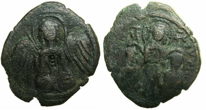 Ancient Coins - BYZANTINE EMPIRE.Andronicus II and Michael IX AD 1294-1320 or later.AE.Assarion.Class IX.~~~.Archangel.~#~. Christ blessing Emperors.