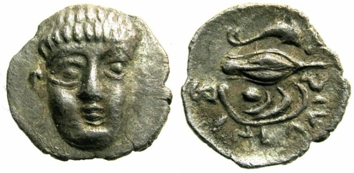 Ancient Coins - CAMPANIA.Philistria.circa 380-350 BC.AR.Obol~~~Male head.~#~Dophin,barley and muscel shell.