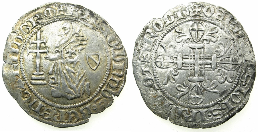 World Coins - RHODES.Knights of Saint John. Raymond Berenger AD 1365-1374.AR.Gigliato.
