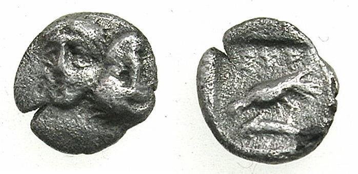 Ancient Coins - MOESIA.ISTRUS.Circa 4th Cent.BC.AR.Hemiobol.