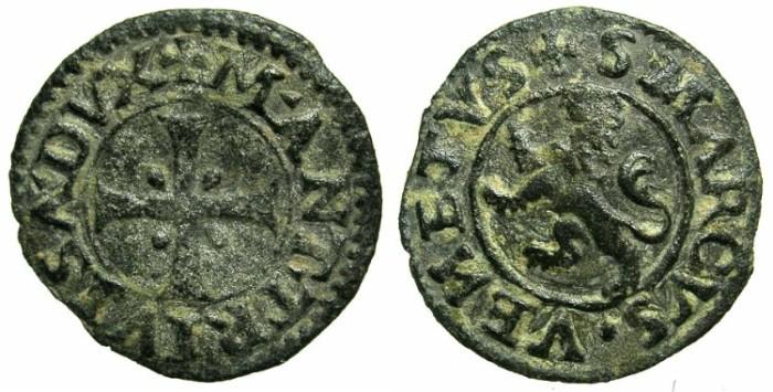 Ancient Coins - CRUSADER STATES.CYPRUS under VENICE.Mark Antonio Trevisian AD 1553-1554.Billon Carzia per Cipro.