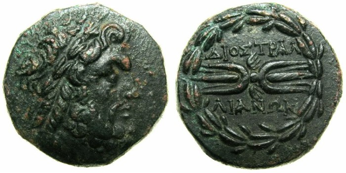 Ancient Coins - LYDIA.TRALLES.after 133 BC.AE.18.2mm.~~~Laurate Zeus.~#~Thunderbolt.