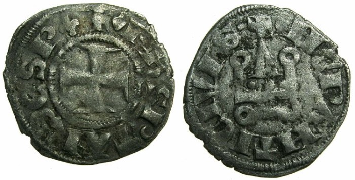 World Coins - CRUSADE STATES.GREECE.Depotate of EPIRUS.Philip of Tarento AD 1294-1313.Billon Denier.Type 2a ii.