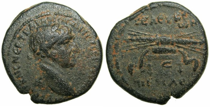 Ancient Coins - SYRIA.SELEUCIA PIERIA.Trajan AD 98-117.AE.25.9mm.~#~Thunderblot on stool.