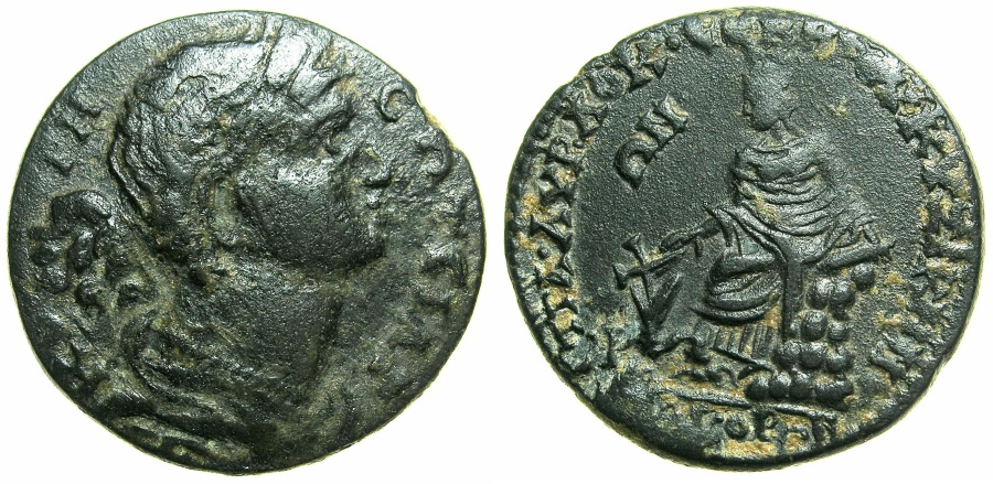 Ancient Coins - MYSIA.CYZICUS.Septimius Severus AD 193-211 AD.AE.27.7mm.~~~Kore Soteira.~#~Tyche seated on rock.