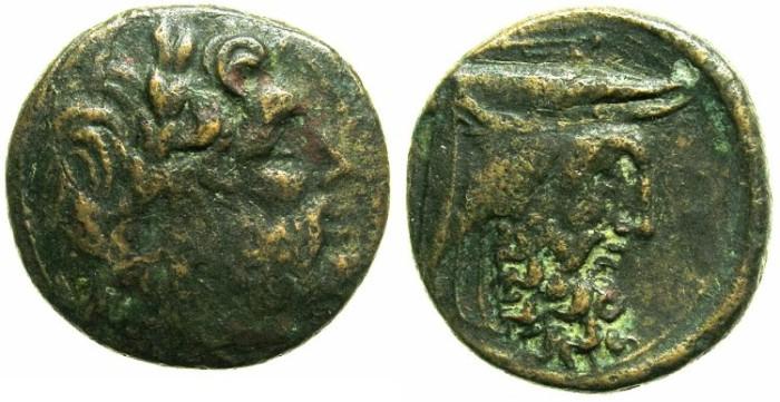 Ancient Coins - ACARNANIA.OENIADAE.Circa 219-211 BC.AE.24.Zeus.Man headed bull ( River god Achelous).