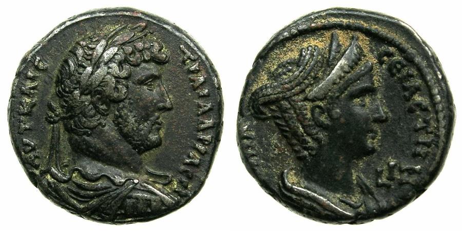 Ancient Coins - EGYPT.ALEXANDRIA.Hadrian AD 117-138.Billon Tetradrachm, struck AD 132/33.~#~.Bust of SABINA.