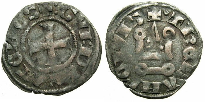 Ancient Coins - CRUSADER.Dukes of ATHENS.Guy II of la Roche AD 1287-1308.Bi.Denier.Type 1e