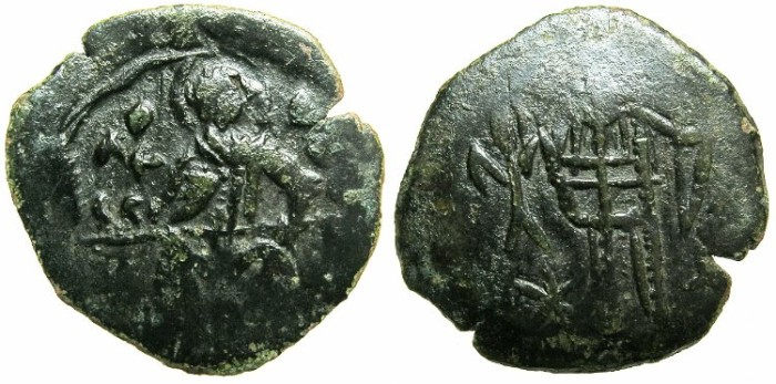 Ancient Coins -  BYZANTINE EMPIRE.Andronicus III AD 1328-1341.AE.Assarion.Class VII.~~~Saint Demetrius seated holding naked sword.