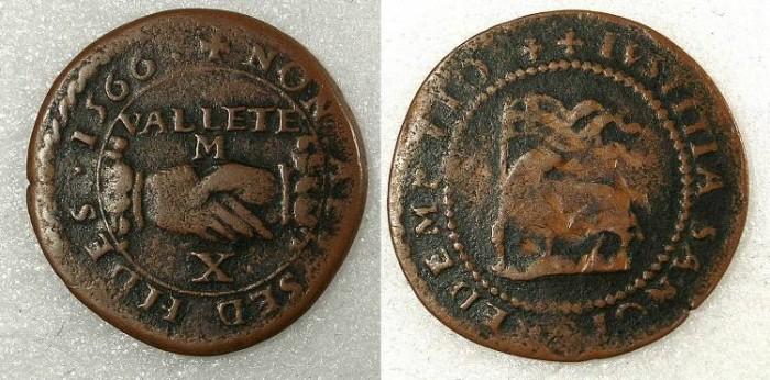 Ancient Coins - Malta Jean de la Vallete 1557-1567 AE Carlino N D