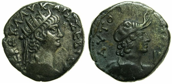 Ancient Coins - EGYPT.ALEXANDRIA.Nero AD 54-68.Billon Tetradrachm, struck AD 65/66?~#~.Bust of Alexandria wearing Elephant cap.