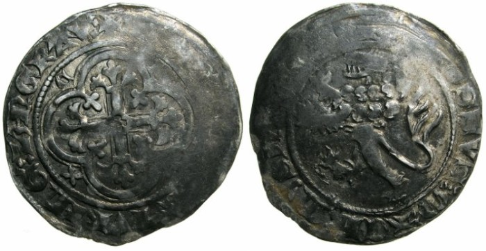 Ancient Coins - GERMANY.MEISSEN.Freidrich II The Serious Margrave of Meissen and Thuringen AD 1323-1349.AR.Miessen Groschen.