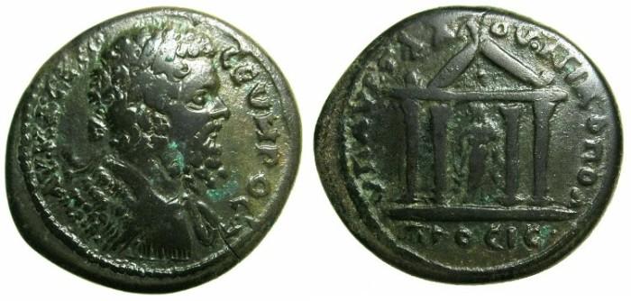 Ancient Coins - MOESIA INFERIOR.NIKOPOLIS AD ISTRUM.Septimius Severus AD 193-211.AE.27.3mm.~#~.Tetrasyle temple within Asklepois.