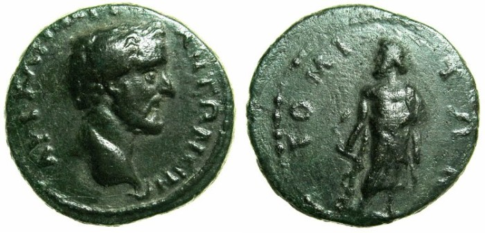 Ancient Coins - MOESIA INFERIOR.Antoninus Pius AD 138-161.AE.19.1mm.Mint of TOMIS.~#~.Askepios standing left.