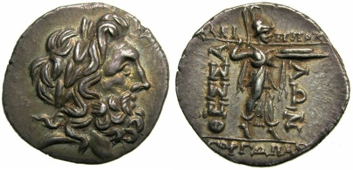 Ancient Coins - GREECE.THESSALY.Thessalian League.Circa 196-146.AR.Double Victoriatus.~~~Laurate Zeus.~#~Athena Itonia.