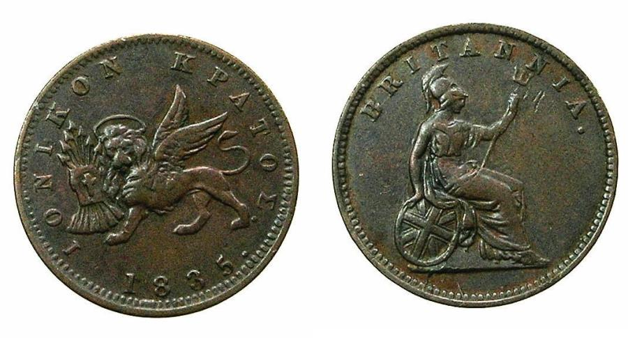 World Coins - GREECE.IONION ISLANDS, under Bristish Administration.AE.1 Lepton 1835 dot. Flan 16.2mm