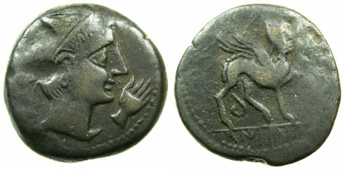 Ancient Coins - SPAIN.CASTULO.Late 2nd cent BC.AE.26mm.~~~Male head, in front hand.~#~.Sphinx.