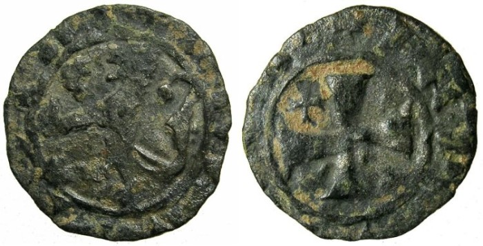 World Coins - CRUSADER.CYPRUS.James I AD 1382-1398.Billon Denier.