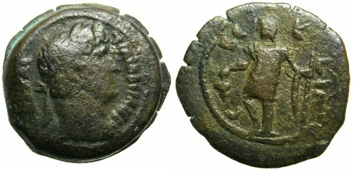 Ancient Coins - EGYPT.nome of SEBENNYTES INFERIOR.Hadrian AD 117-138.AE.Obol.AD 126/27.~~~Ares standing holding bunch of grapes and spear.