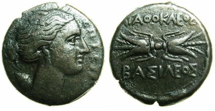 Ancient Coins - SICILY.Agathokles 317-289 BC.AE.22mm.~~~Artemis-Soteira. ~#~.Thunderbolt.