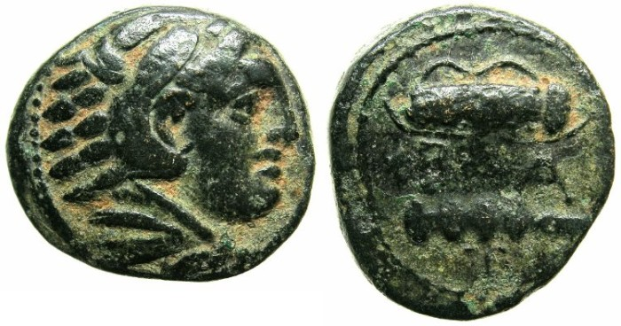Ancient Coins - MACEDON.Alexander III The Great 336-323 BC.AE.Struck C.325-310 BC.~~~Herakle.~#~Bow case and club.