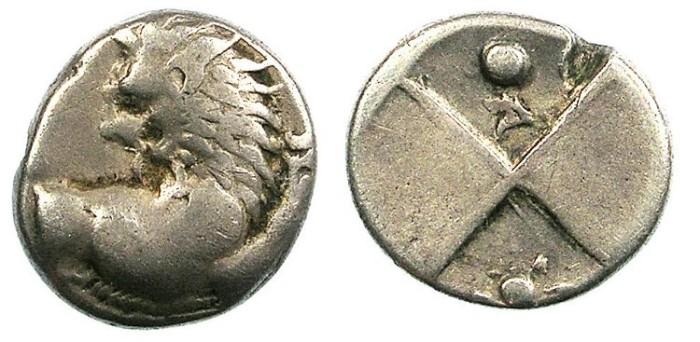Ancient Coins - THRACE.Chersonesos.C.400-350 BC.AR.Hemidrachm.Lion