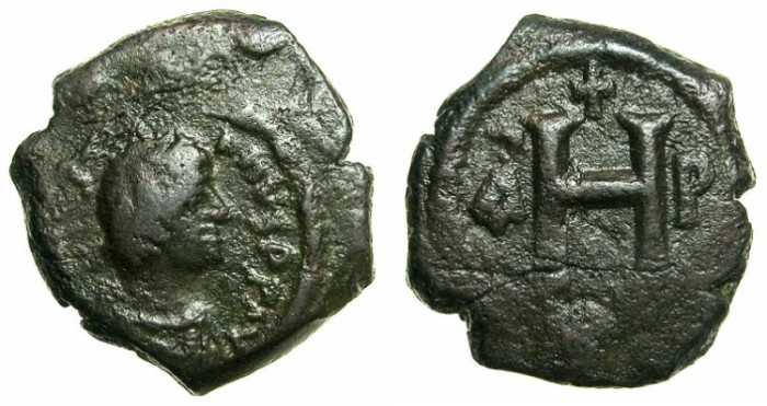 Ancient Coins - BYZANTINE EMPIRE.Justinian I AD 527-565.AE.8 nummia.Mint of THESSALONIKA.
