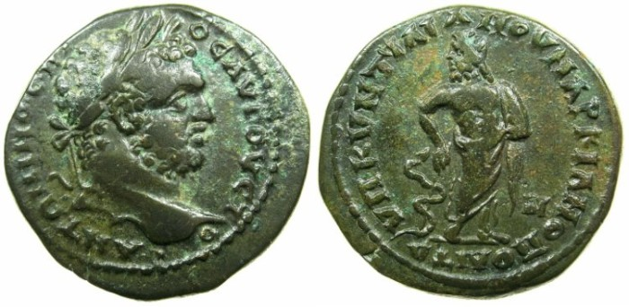 Ancient Coins - MOESIA INFERIOR.MARCIANOPOLIS.Caracalla Augustus AD 198-217.AE.25mm.~#~.Asklepios standing.