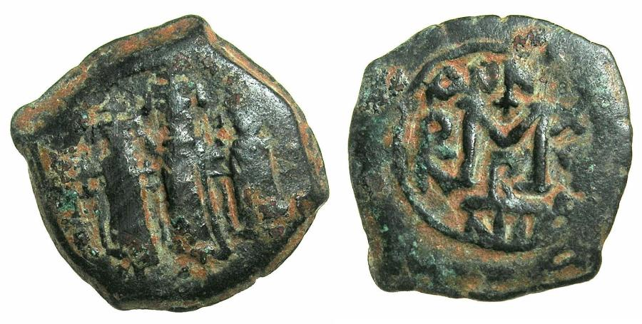 Ancient Coins - BYZANTINE EMPIRE.Heraclius AD 610-641.AE.Follis.struck AD 625/26.Mint of NICOMEDIA.