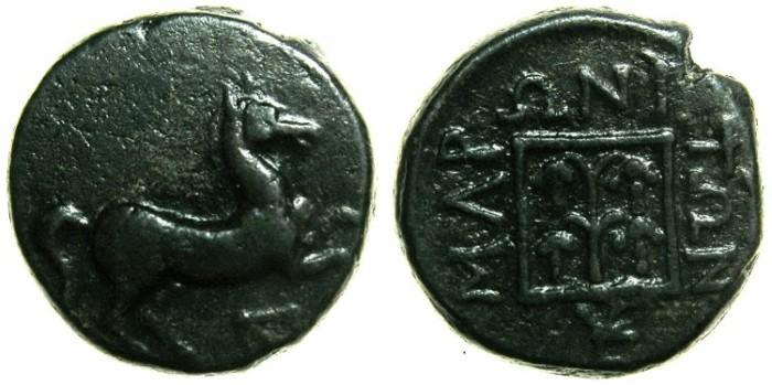 Ancient Coins - THRACE.MARONEIA.Circa 398-347 BC.AE.14.9mm.~~~Prancing horse.~#~Grape arbor.