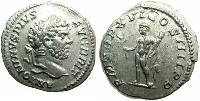 Ancient Coins - ROMANCaracalla Sole emperor AD 212-217.AR..Denarius.AD 213.~~~Augustus BRIT ~~~Heracles holding branch and club.