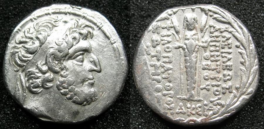 Ancient Coins - SELEUCID EMPIRE.Demetrius III Eukairos 97/6-88/7 BC.AR.Tetradrachm, struck 89//8 BC.Mint of Damascus.~#~.Cultus status of Atargatis.