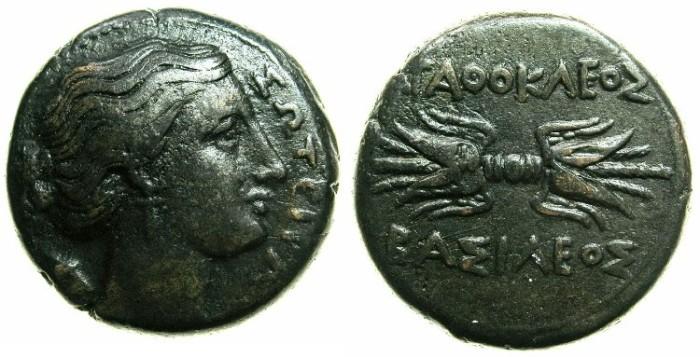 Ancient Coins - SICILY.Agathokles 317-289 BC.AE.21.5mm.~~~Artemis-Soteira. ~#~.Thunderbolt.