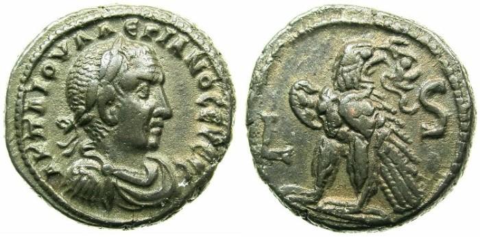Ancient Coins - EGYPT.ALEXANDRIA.Valerian I ( The elder ) AD 253-260.Billon Tetradrachm Struck AD 258/59.