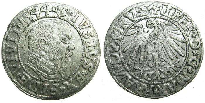 Ancient Coins - GERMANY.Duchy of PRUSSIA as fief of POLAND.Albrecht Von Hohenzollen 1525-1568, vassal of Sigismund I of Poland .AR.Grosch 1544.Koningsburg mint.
