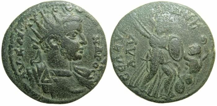 Ancient Coins - CILICIA.SELEUCIA AD CALYCADNUM.Severus Alexander AD 222-235.AE.27.Athena fighting serpent legged giant.
