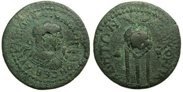 Ancient Coins - PAMPHYLIA.SIDE.Valerian AD 253-260.AE.30.Countermark E.Reverse.Tripod.