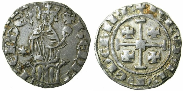 Ancient Coins - CRUSADER.CYPRUS. Henry II 1285 1310 AR Gros Grand. Six pointed star in left field.