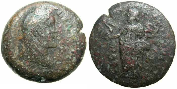 Ancient Coins - EGYPT.HERMOPOLITE NOME.Antoninus Pius AD 138-161.AE.Drachma, Struck AD 144/45.~#~Thoth standing, holding Ibis, baboon at side.