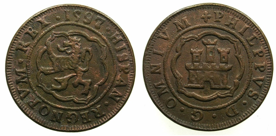 World Coins - SPAIN.Philip II AD 1556-1598.AE.Piefort 4 Maravedis 1597.****Extremely rare*****Unpublished?