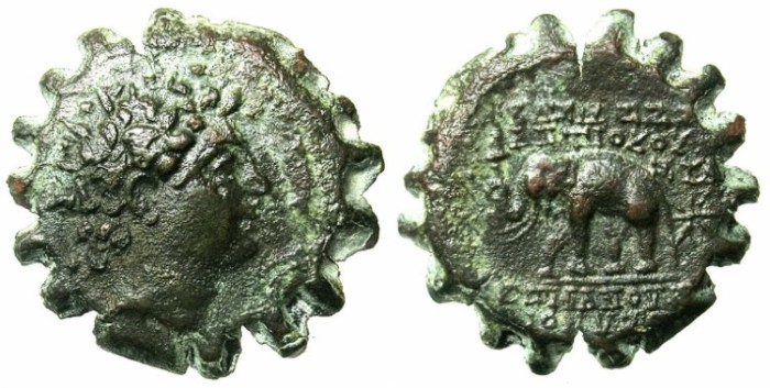 Ancient Coins - SELEUCID EMPIRE.Antiochus VI 144-142/1 BC.AE.23.Radiate bust.Rev.Elephant