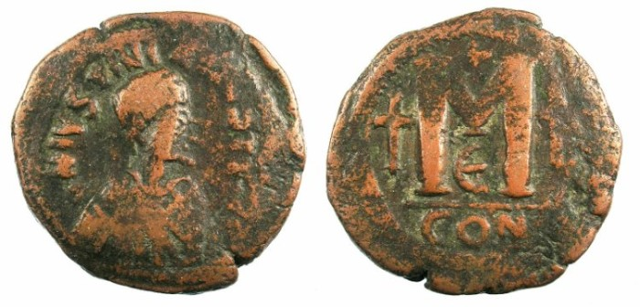 Ancient Coins - BYZANTINE EMPIRE.Justin II AD 518-527.AE.Follis.Constantinople mint.