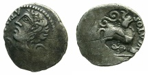 Ancient Coins - CELTIC.Northeast Gaul. Uncertain tribe. Ateula-Ulatos circa 60-30 BC.AR.Quinarius.