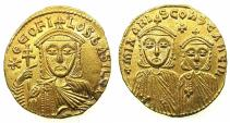 Ancient Coins - BYZANTINE EMPIRE.Theophilus with Constantine and Michael I AD 824-842.AV.Solidus. Mint of CONSTANTINOPLE.