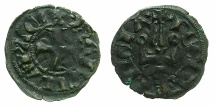 World Coins - CRUSADER STATES.Principality of ACHAIA.Isabella of Villehardouin AD 1289-1297. Bi.Denier.Type Y2 varient.~~~Obverse without trefoil in legends.